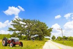 farm tractor and country road