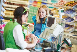 Shopping. Check out in supermarket store-food