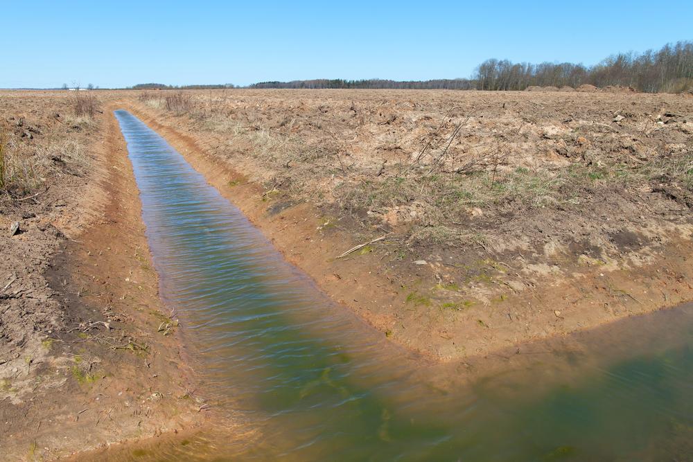 New ditch in farmland.