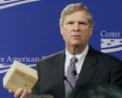 Ag Secretary Tom Vilsack holding a sample of Cross Laminated Timber (Picture courtesy of USDA)